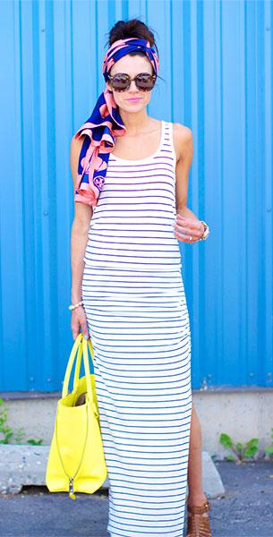 เดรส Maxi สีขาว ลายขวางสีน้ำเงิน Victoria Secret, รองเท้า MIA, ผ้าพันคอ Tory Burch, กระเป๋า Marc Jacobs