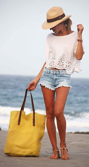 เสื้อขาวขอบลูกไม้ H&M, กางเกงยีนส์ขาสั้น Zara, รองเท้า Suiteblanco, กระเป๋า Zara, แว่นตากันแดด Vintage