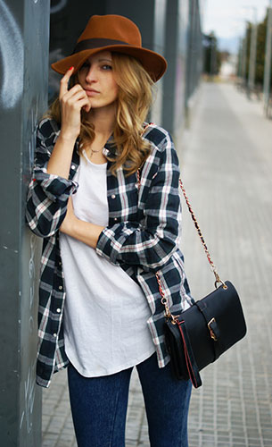 เสื้อเชิ้ตลายสก็อต สีเขียวเข้ม Topshop, เสื้อยืดสีขาว Zara, กางเกงยีนส์ Topshop, รองเท้า Nine West กระเป๋า Oasap