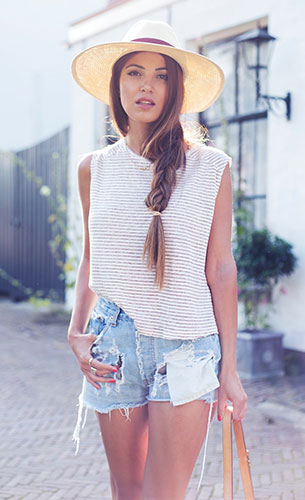 เสื้อแขนกุด ลายขวาง Monki, กางเกงยีนส์ขาสั้น Levi's, รองเท้า Ibiza, กระเป๋า Louis Vuitton, หมวกปานามา