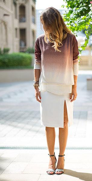 เสื้อไล่เฉดสี น้ำตาลขาว Young Fabulous and Broke, กระโปรงสีขาว Zara, รองเท้า Zara
