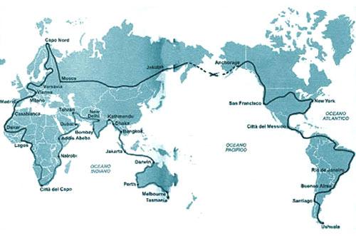 เส้นทางการขี่เวสป้ารอบโลกของ จิออร์จิโอ เบตติเนลลี่