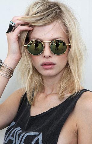 แว่นตากันแดด กรอบกลมสีทอง Planetblue