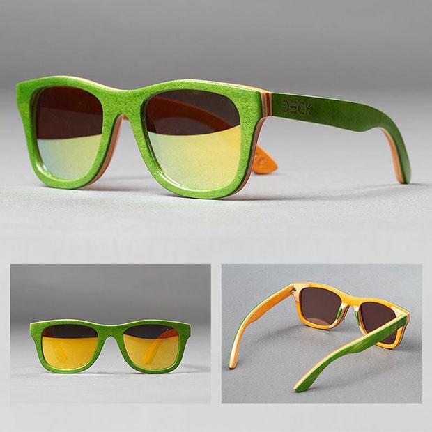 แว่นตากันแดด สีเขียว ด้านในสีเหลือง