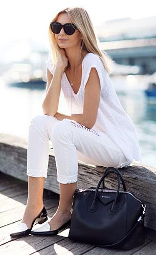 ชุดสีขาว Zara, กางเกงยีนส์สีขาว Nobody, รองเท้า Fabio Rusconi, กระเป๋า Givenchy, แว่นตากันแดด Celine