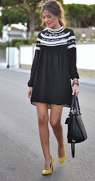 ชุดเดรสสั้น สีดำปักลูกไม้สีขาว Fashion Pills, รองเท้าส้นสูง Zara, กระเป๋า Zara, นาฬิกา Daniel Wellington