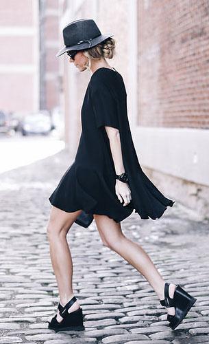 ชุดเดรสสั้น สีดำ French Connection, รองเท้า เตารีด Marc By Marc Jacobs, กระเป๋า Sophie Hulme, หมวก Madewell