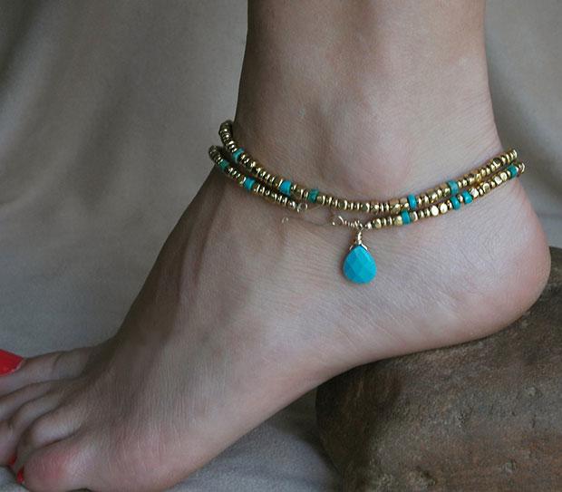 สร้อยข้อเท้ารูปหยดน้ำสีฟ้าเขียว