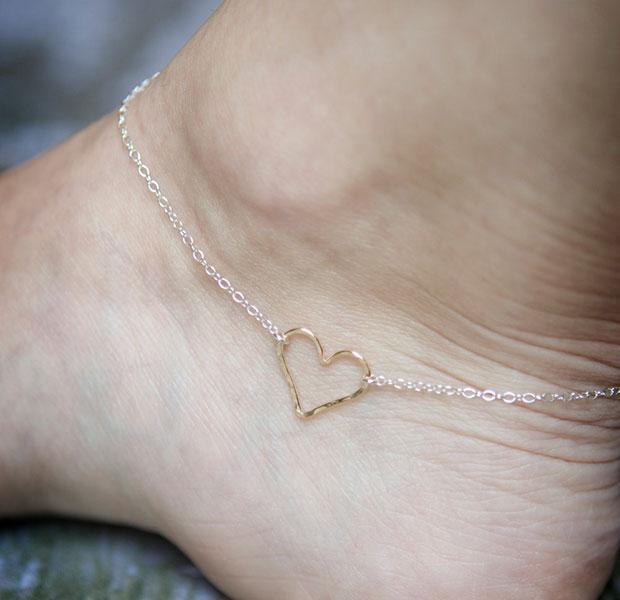 สร้อยข้อเท้ารูปหัวใจ สีทอง