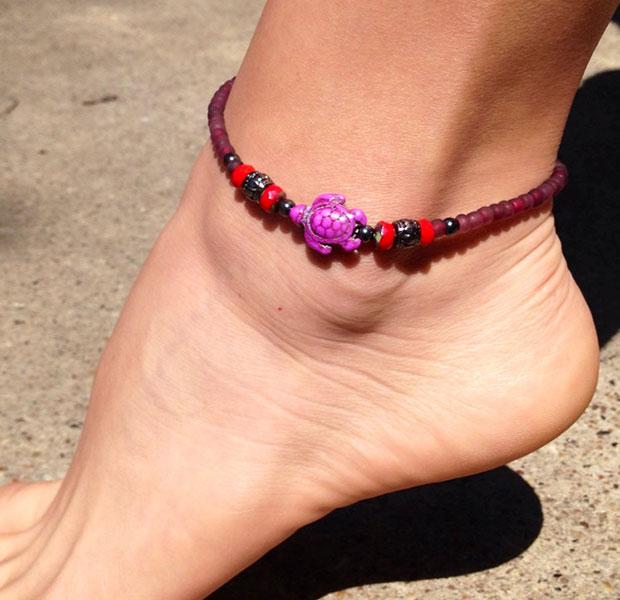 สร้อยข้อเท้ารูปเต่าสีม่วง