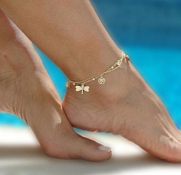 สร้อยข้อเท้ารูปแมลงปอ สีทอง