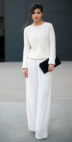 สเว็ตเตอร์สีขาว Choies, กางเกงสีขาว Zara, กระเป๋าคลัทช์ 3.1 Phillip Lim