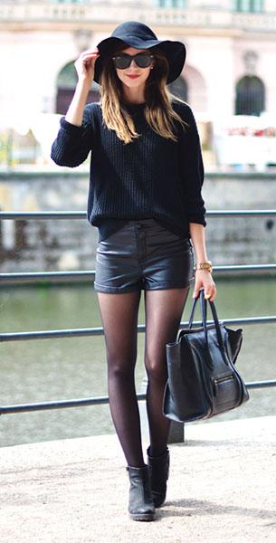 สเว็ตเตอร์สีดำ American Apparel, กางเกงขาสั้นหนัง H&M, รองเท้าบู๊ท Vagabond, กระเป๋า Celine, หมวก Choies