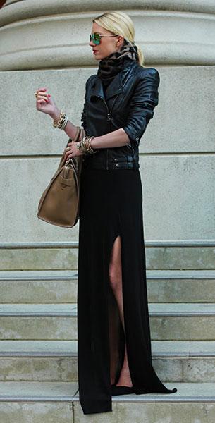 เดรสยาวสีดำ Zara, แจ็คเก็ตหนัง Zara, รองเท้า Zara, กระเป๋า Celine, ผ้าพันคอ BR, แว่นตากันแดด Icing