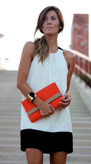 เดรสสั้น สีขาวขอบกระโปรงดำ Lefties, รองเท้าสีดำส้นส้ม Zara, กระเป๋าสีส้ม H&M