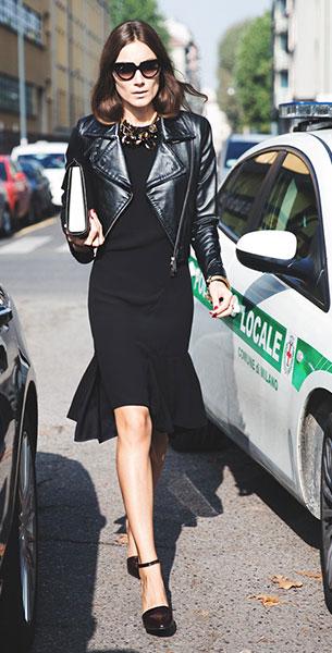 เดรสสีดำ, แจ็คเก็ตหนัง,  Giorgia Tordini, Milan Fashion Week