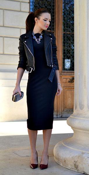 เดรสสีดำ, แจ็คเก็ตหนัง Zara, รองเท้าส้นสูง Zara, กระเป๋าคลัตช์ Zara, สร้องคอ Zara