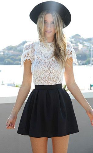 เสื้อลายลูกไม้สีขาว Sabo Skirt, กระโปรงบานสั้นสีดำ