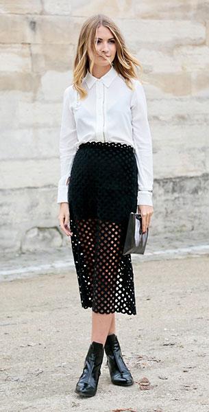 เสื้อเชิ้ตสีขาว, กระโปรงลายฉลุสีดำ, Paris Fashion Week Spring Summer 2014