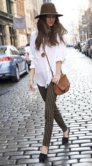 เสื้อเชิ้ตสีขาว LSK, กางเกงยีนส์ลายแนวตั้งสีเขียวดำ Paige, รองเท้า Zara, กระเป๋า Paige, หมวก Worth and Worth