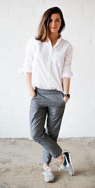 เสื้อเชิ้ตสีขาว Taylor Stitch, กางเกงสีเทา Taylor Stitch, รองเท้า Nike, นาฬิกา Shinola