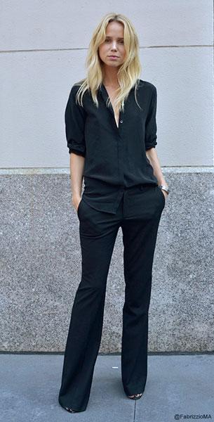 เสื้อเชิ้ตสีดำม กางเกงสีดำ, Elin Kling, New York Fashion Week