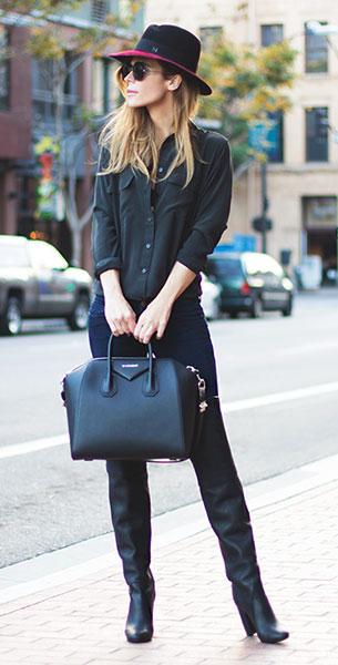 เสื้อเชิ้ตสีดำ Equipment, กางเกงยีนส์ Genetic, รองเท้าบู๊ท Phillip Lim, กระเป๋า Givenchy, หมวก Maison Michel