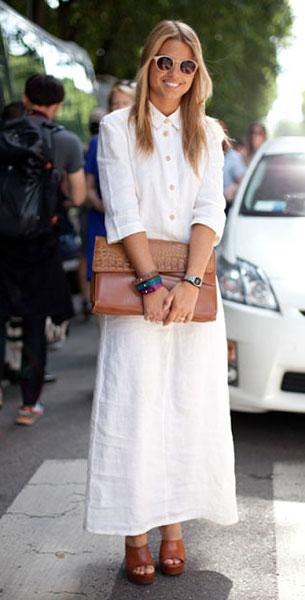 เสื้อเชิ้ตเดรส สีขาว, กระเป๋าคลัตช์ขนาดใหญ่