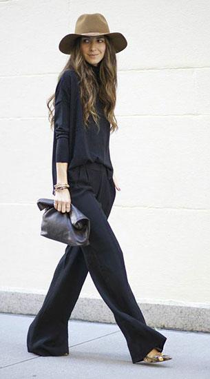 เสื้อแขนยาวสีดำ NastyGal, กางเกงสีดำ RYU, รองเท้า Manolo Blahnik, คลัทช์ Marie Turnor, หมวก Janessa Leone