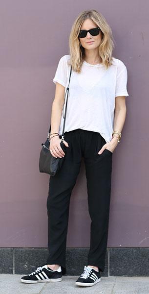 เสื้อยืดสีขาว H&M, กางเกงสีดำ LNA, รองเท้า Adidas, กระเป๋า Cos, แว่นตากันแดด Ray Ban