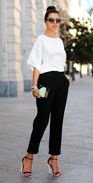 เสื้อสีขาว Asos, กางเกงสีดำ Asos, รองเท้าส้นสูง Asos, กระเป๋าคลัทช์ Rafe, แว่นตากันแดด Asos
