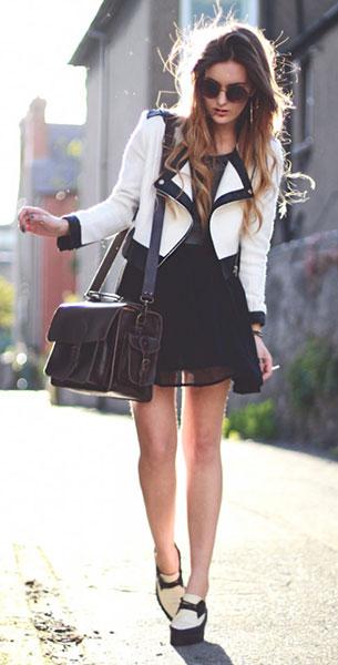 เสื้อเดรสสีดำ Missguided, แจ็คเก็ตสีขาว ขอบดำ Chiciwish, กระเป๋า Graftea, แว่นตากันแดด Urban Outfitters
