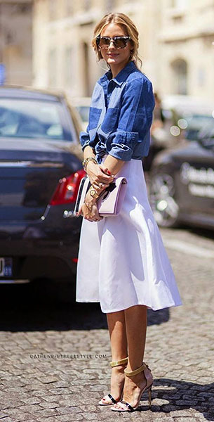 กระโปรง Midi สีขาว, เสื้อเชิ้ตยีนส์, Olivia Palermo