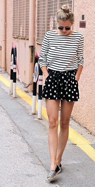 กางเกงขาสั้นลายจุด Primark สีดำลายจุดดอกไม้สีขาว, เสื้อยืดลายขวางสีขาวดำ Petit Bateau, รองเท้า Sacha