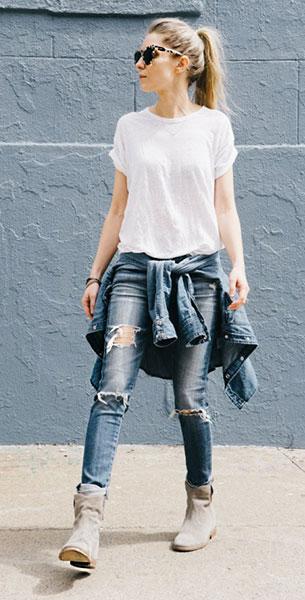 กางเกงยีนส์ขาดๆ, เสื้อยืดสีขาว, รองเท้าบู๊ท