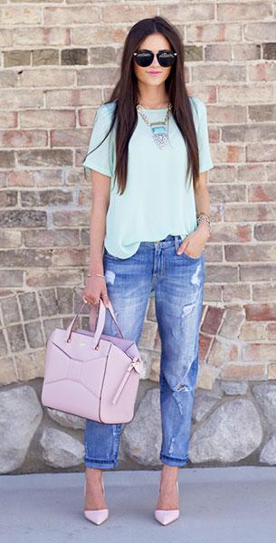 กางเกงยีนส์ขาดๆ Current Elliott, เสื้อสีมินท์ Topshop, รองเท้าส้นสูง Kurt Geiger, กระเป๋า Kate Spade