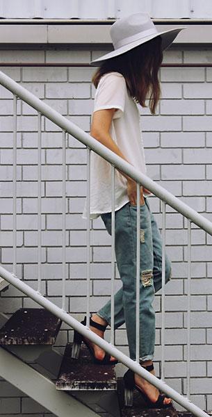 กางเกงยีนส์ขาดๆ Oasap, เสื้อสีขาว Three of Something, รองเท้าส้นสูง Shop Priceless, หมวกสีเทา Lack of Color
