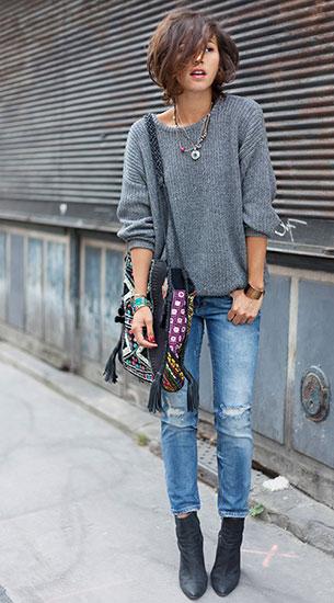 กางเกงยีนส์ขาดๆ Zara, สเว็ตเตอร์สีเทา American Apparel, รองเท้าบู๊ท Acne, กระเป๋า Antik Batik