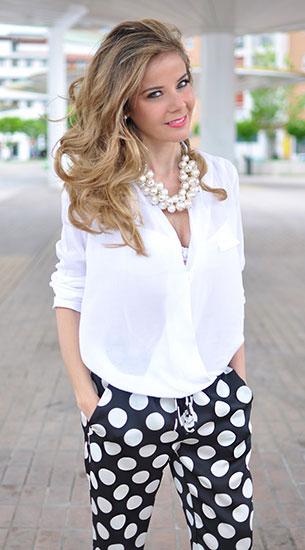 กางเกงลายจุด White สีดำจุดขาว, เสื้อสีขาว Zara, รองเท้า Zara