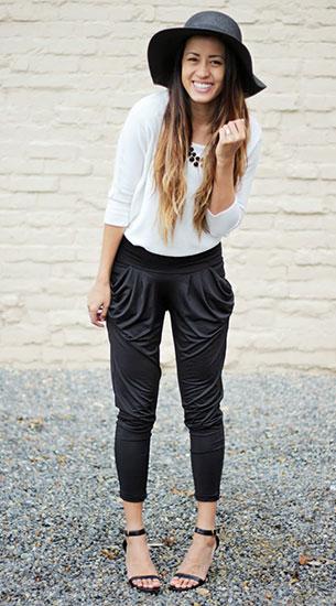 กางเกง Harem สีดำ toADORN, เสื้อสีขาว Forever 21, หมวก Cotton On, รองเท้า Go Jane