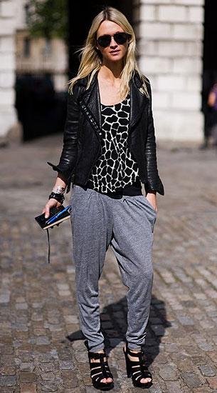กางเกง Harem สีเทา, เสื้อลายยีราฟขาวดำ, แจ็คเก็ตหนัง, Zanna Roberts Rassi