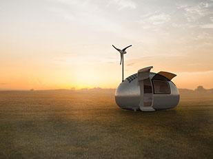 บ้านเคลื่อนที่ขนาดเล็กพลังงานแสงอาทิตย์และพลังงานลม