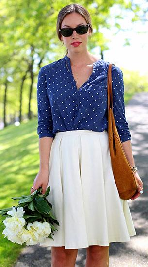 เสื้อลายจุด Zara สีน้ำเงินจุดขาวเล็ก, กระโปรงสีขาว Obakki, รองเท้าส้นสูง J.Crew, กระเป๋า Massimo Dutti