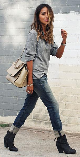 เสื้อเชิ้ตลายจุด Hinge สีเทาจุดขาว, กางเกงยีนส์ Rag & Bone, รองเท้าบู๊ท Rag & Bone, นาฬิกา Emporio Armani