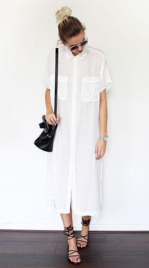 เชิ้ตเดรสสีขาว H&M, รองเท้า Gladiator H&M, กระเป๋า Nakedvice, นาฬิกา Klasse14