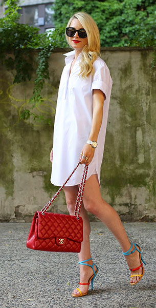 เดรสสไตล์เสื้อเชิ้ตสีขาว Topshop, รองเท้า Bottega Veneta, กระเป๋า Chanel, แว่นตากันแดด Karen Walker