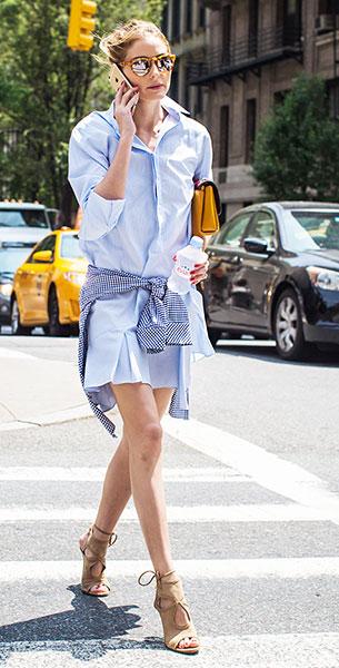 เดรสสไตล์เสื้อเชิ้ตสีฟ้า