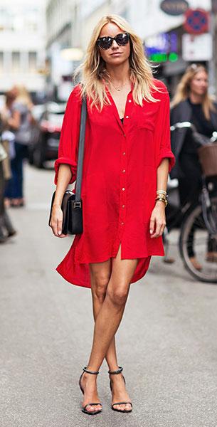 เดรสสไตล์เสื้อเชิ้ตสีแดง