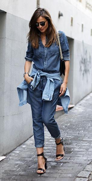 Jumpsuit ยีนส์ H&M, เสื้อเชิ้ตยีนส์, รองเท้า LadyAddict, กระเป๋า Valentino, แว่นตากันแดด Dior