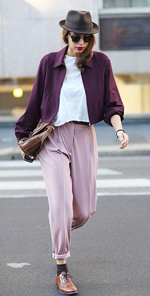 Masculine กางเกงสีม่วง